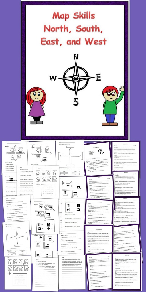 Map Skills N, S, E, W   School And Education   Social Studies Lesson - Map Symbols For Kids Printables
