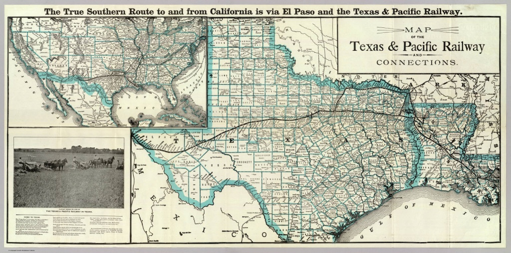 Map, Texas & Pacific Railway & Connections. / Texas And Pacific - Texas State Railroad Route Map
