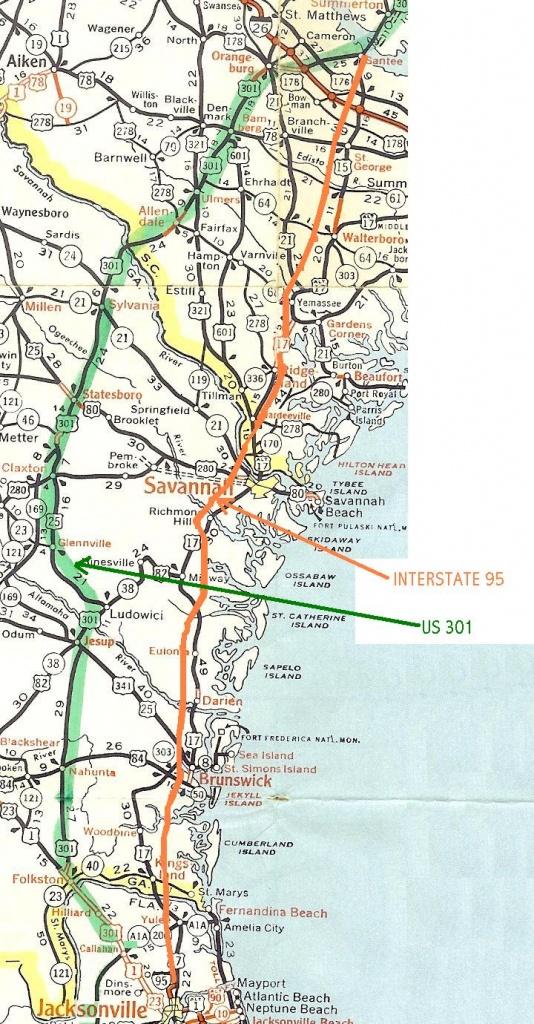 Map   U.s. 301 Travel Association - Road Map Of North Florida