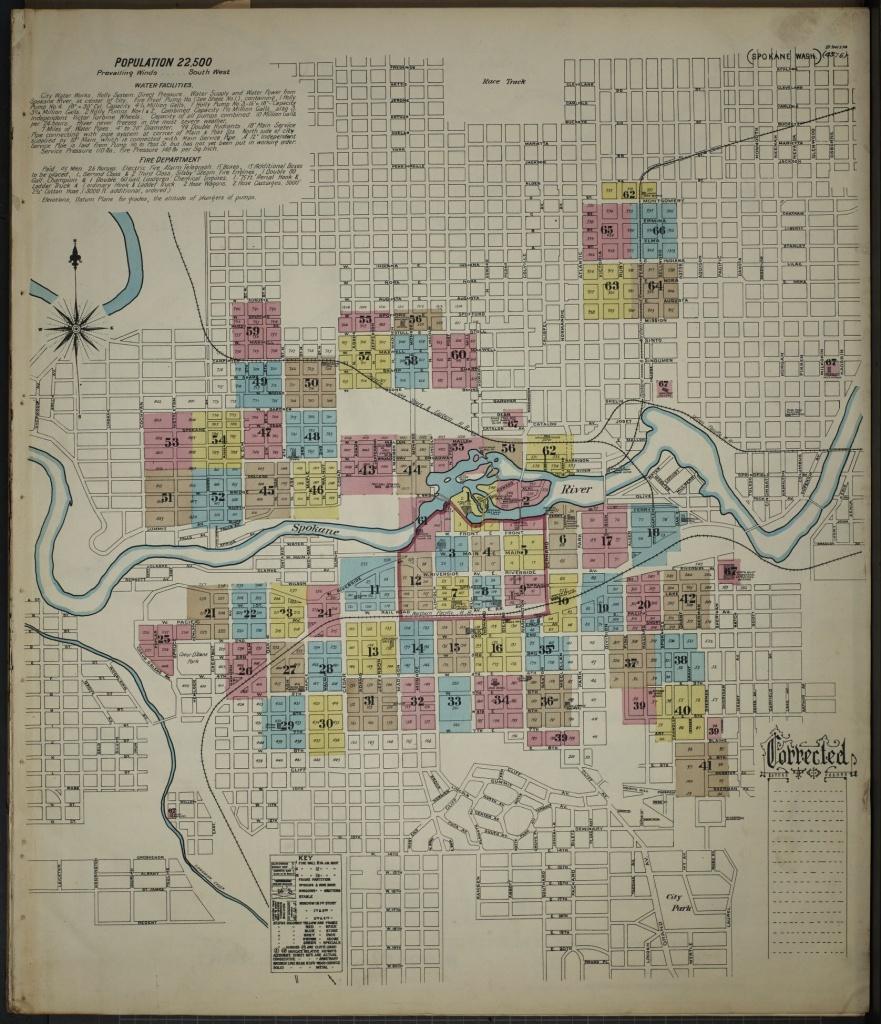 Map, Washington, Spokane   Library Of Congress - Downtown Spokane Map Printable