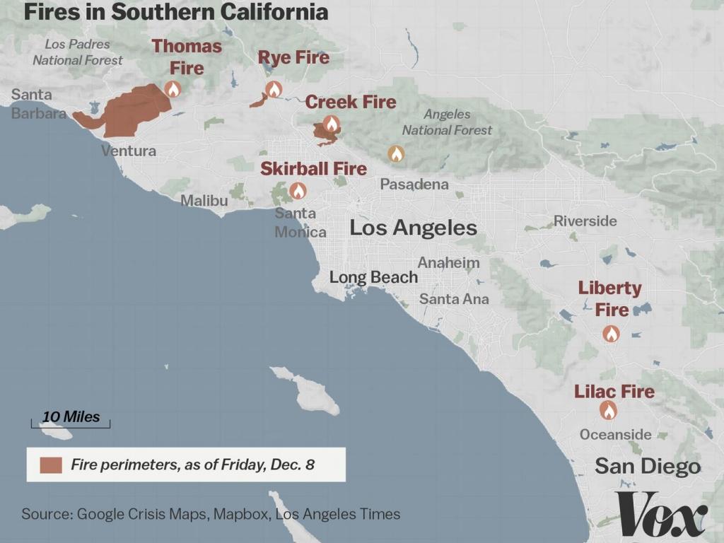 Map: Where Southern California's Massive Blazes Are Burning - Vox - Map Of Malibu California Area