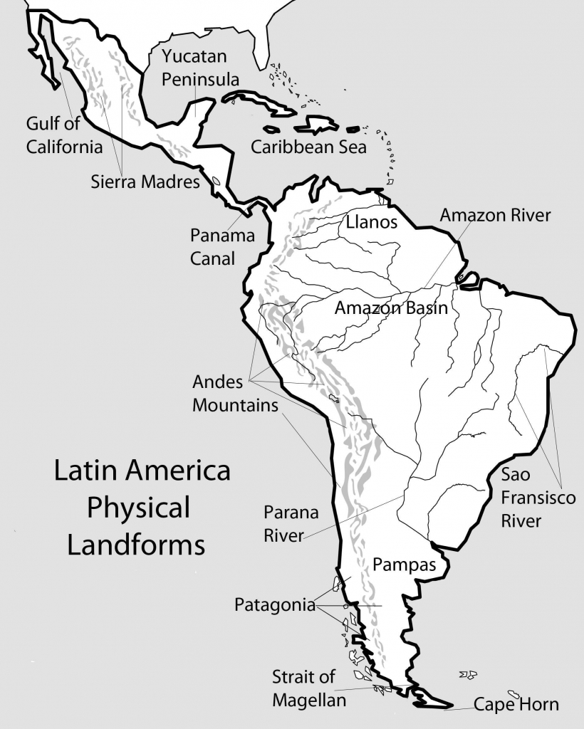 Map With Us And Latin America South America Beautiful North And - South America Physical Map Printable
