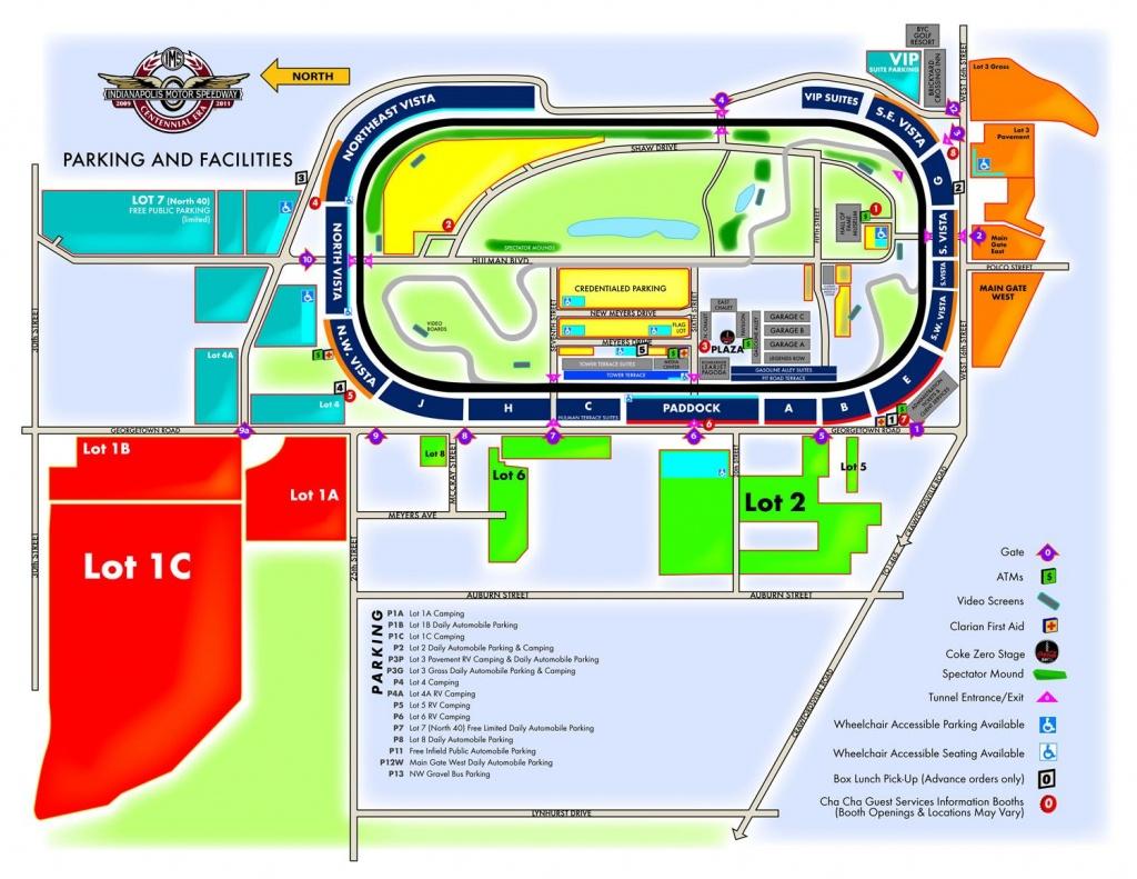 Mapa Del Circuito De Indianápolis: Estacionamiento Y Servicios - Texas Motor Speedway Parking Map