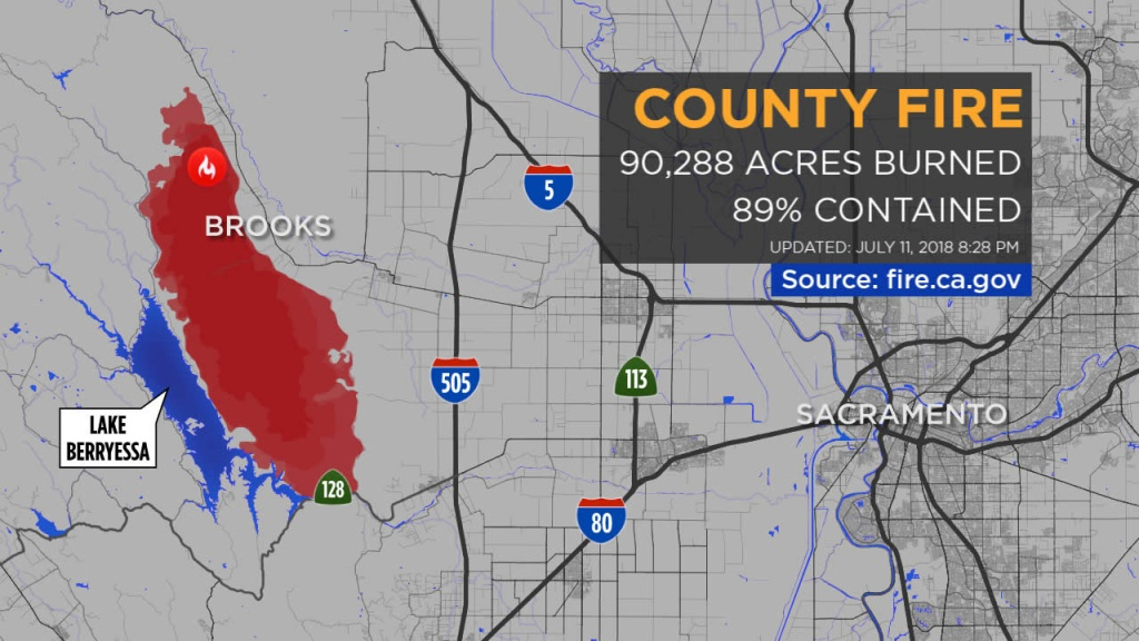 Maps: A Look At The 'county Fire' Burning In Yolo, Napa Counties - California Fire Map 2018
