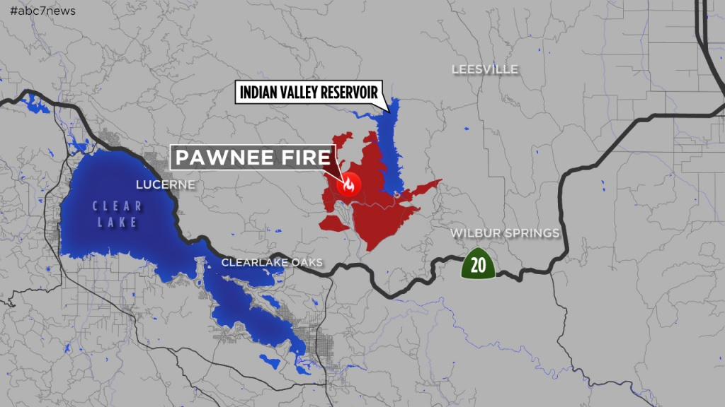 Maps: A Look At The 'pawnee Fire' Burning In Lake County Near - Map Of Current Fires In Southern California