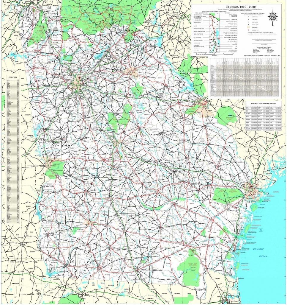 Maps - Georgia Department Of Transportation Highway Map 1999-2000 (3 - Georgia Road Map Printable