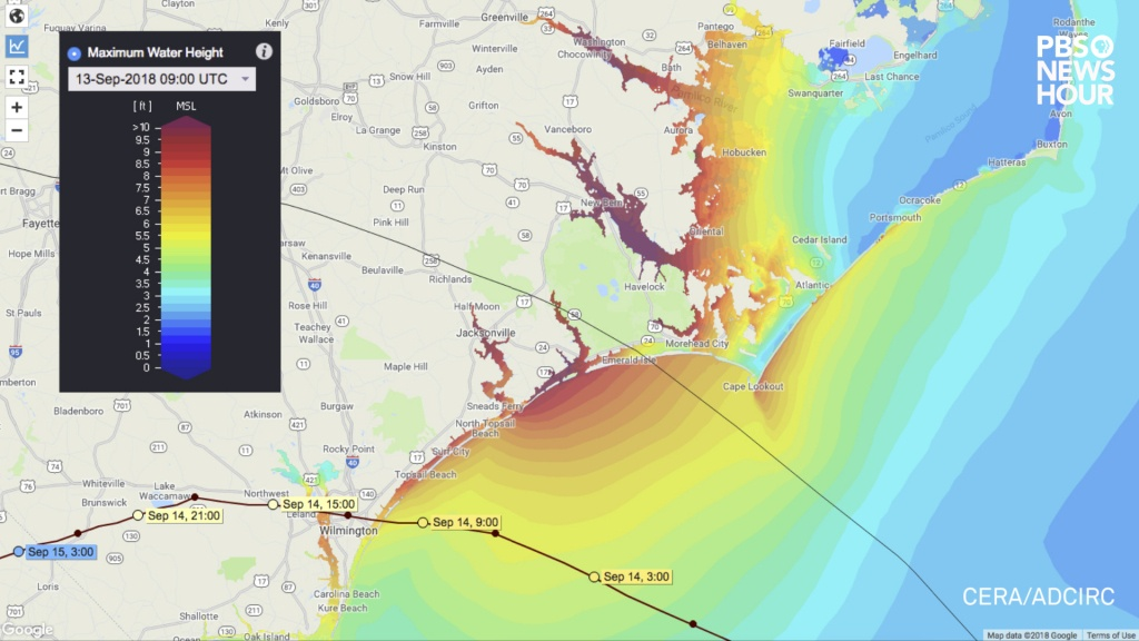 Maps: Here's Where Flooding From Florence Could Be The Worst   Pbs - Flood Zone Map South Florida
