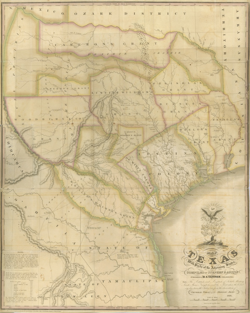Maps: Map Of Texas With Parts Of The Adjoining States  A Continent - Stephen F Austin Map Of Texas