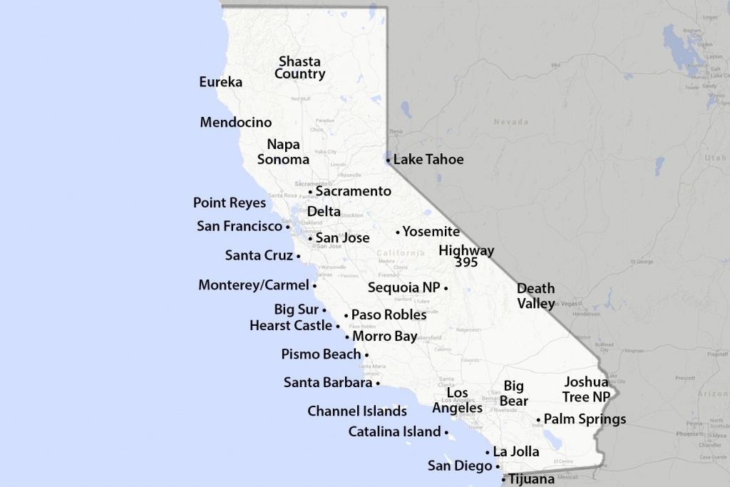 Maps Of California - Created For Visitors And Travelers - Map Of Central And Southern California Coast