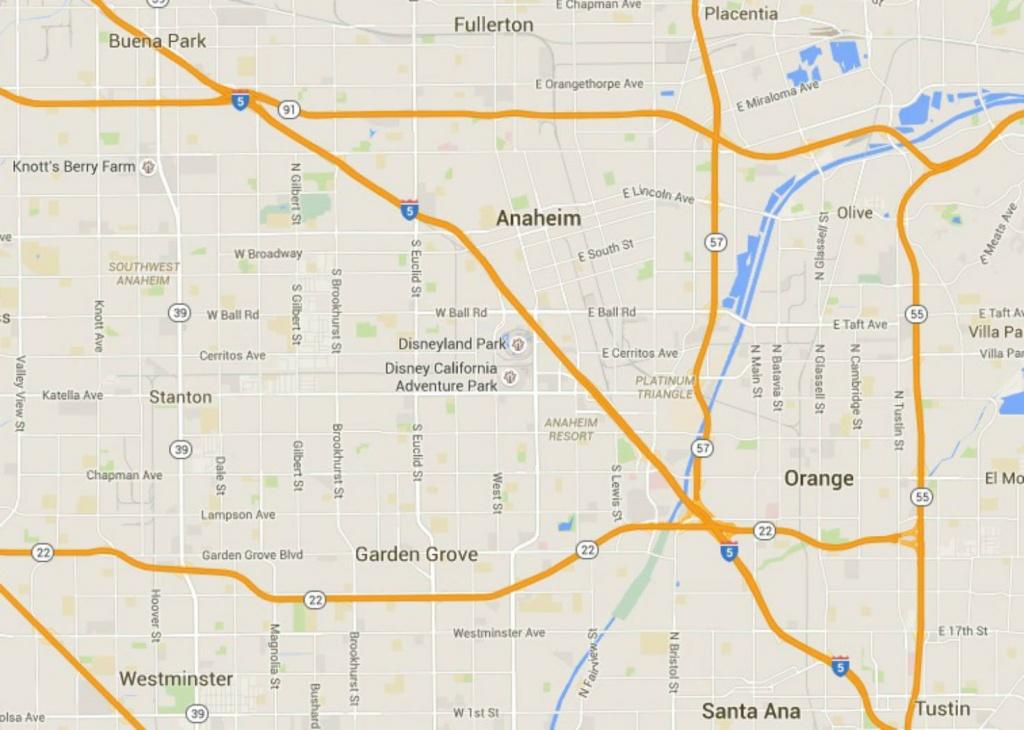 Maps Of Disneyland Resort In Anaheim, California - Map Of Anaheim California And Surrounding Areas