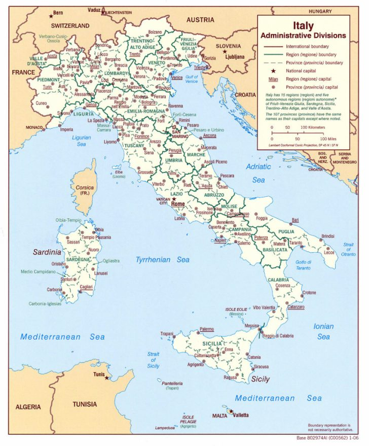 Printable Map Of Italy With Cities And Towns