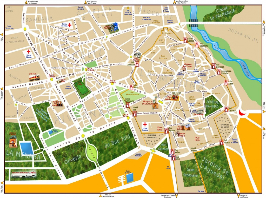 Maps Of Marrakech | To Download Or Print - Bus Map, Souks, Train, City - Marrakech Tourist Map Printable
