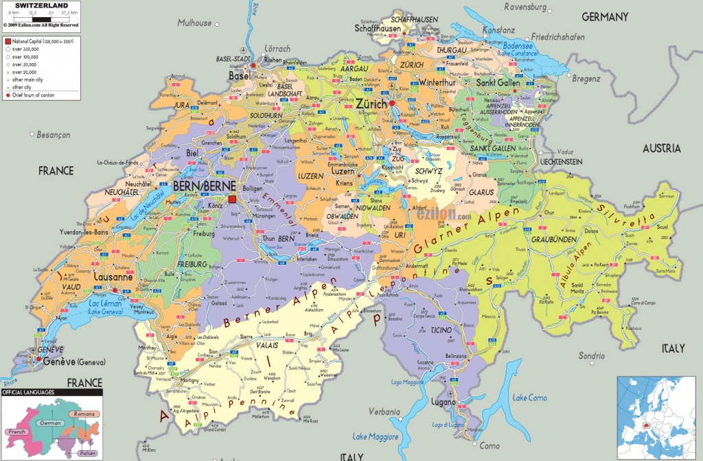 Maps Of Switzerland | Detailed Map Of Switzerland In English - Printable Map Of Switzerland