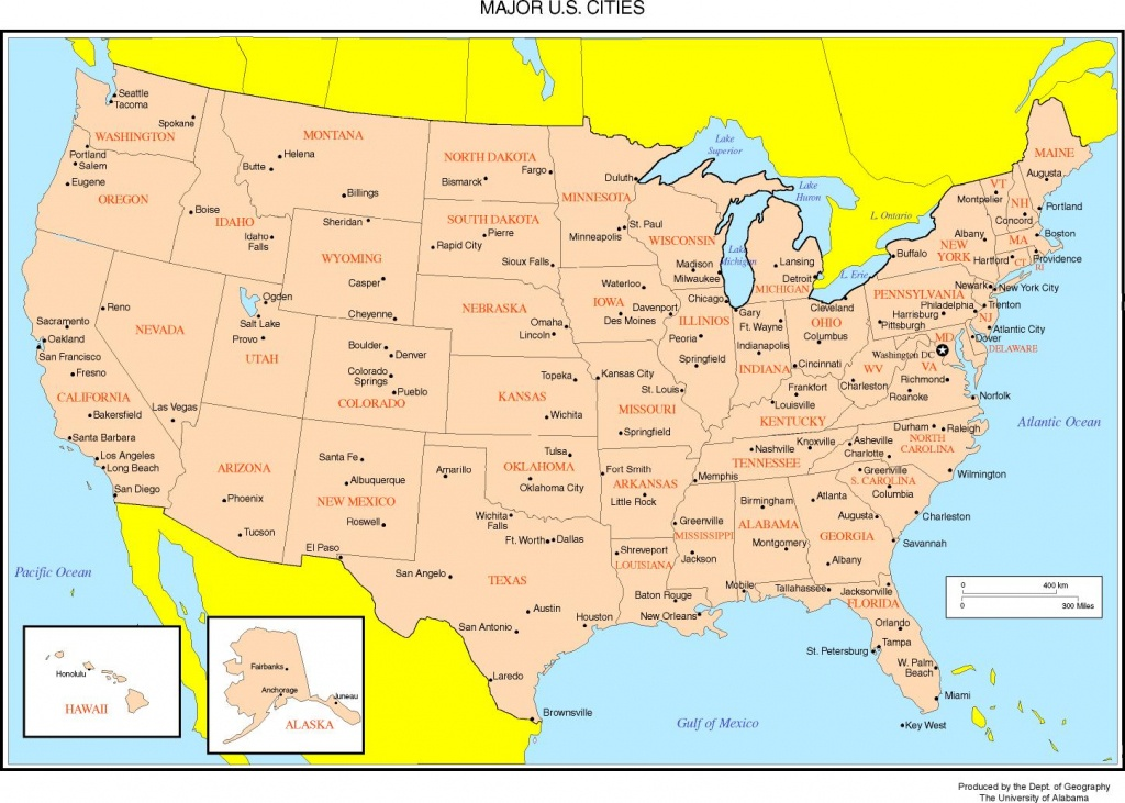 Maps Of The United States - Us Map With Cities And States Printable