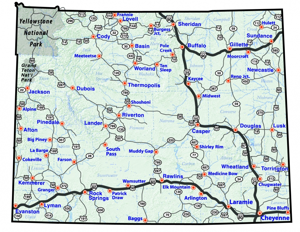 Maps - Printable Road Map Of Wyoming
