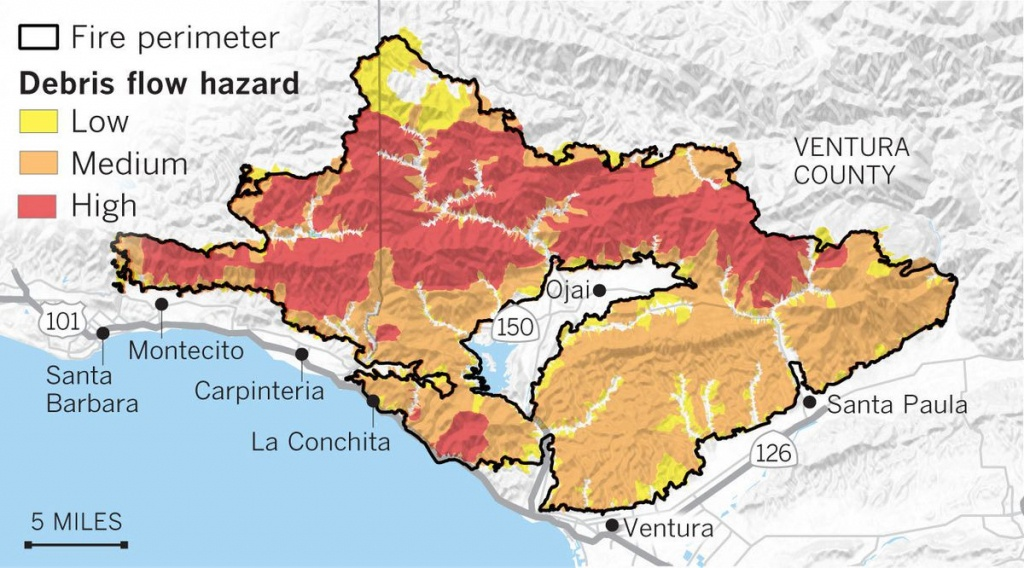 Maps Show The Mudslide And Debris Flow Threat From The Thomas Fire - Map Of Thomas Fire In California