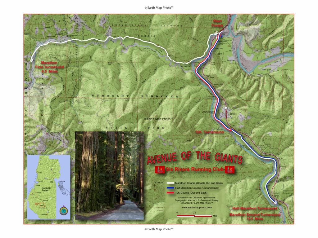 Marathon - Avenue Of The Giants California Map