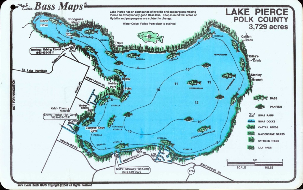 Mark Evans Maps - Florida Fishing Lakes Map