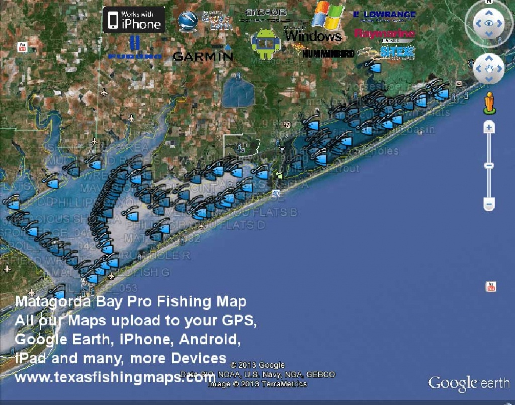 Matagorda Bay Gps Fishing Spots - Texas Fishing Spots Maps For Gps - Texas Coastal Fishing Maps