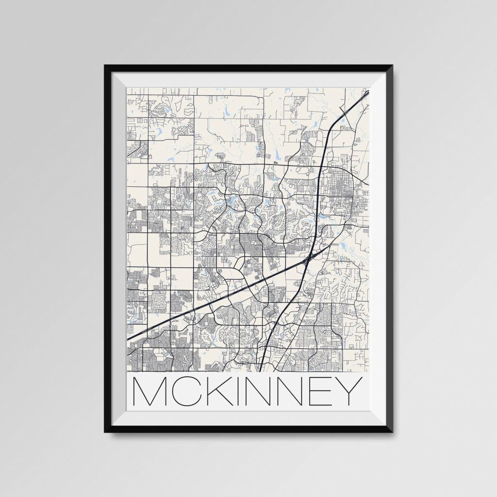 Mckinney Texas Map Mckinney City Map Print Mckinney Map | Etsy - Street Map Of Mckinney Texas