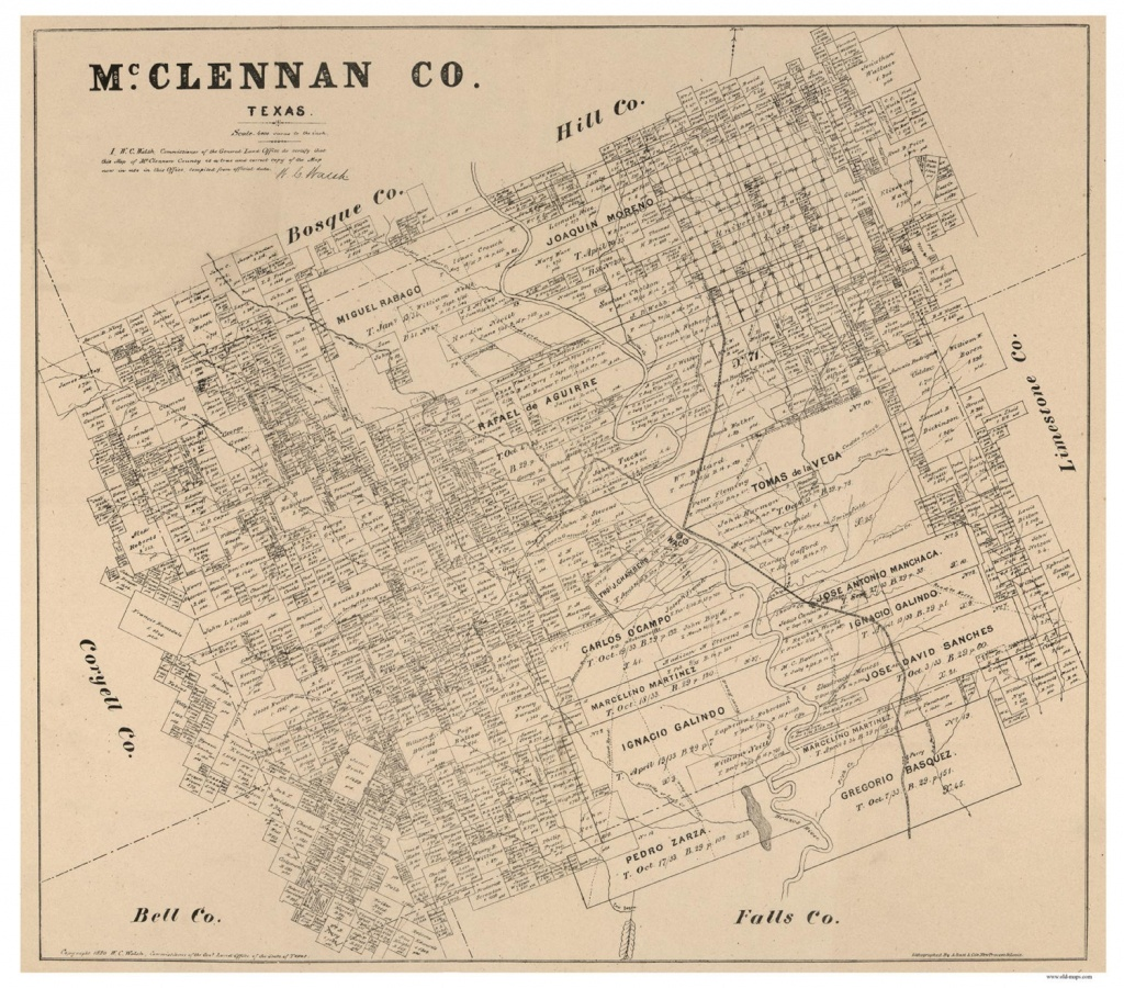 Mclennan County Texas 1880 Old Wall Map Reprint With | Etsy - Texas County Wall Map