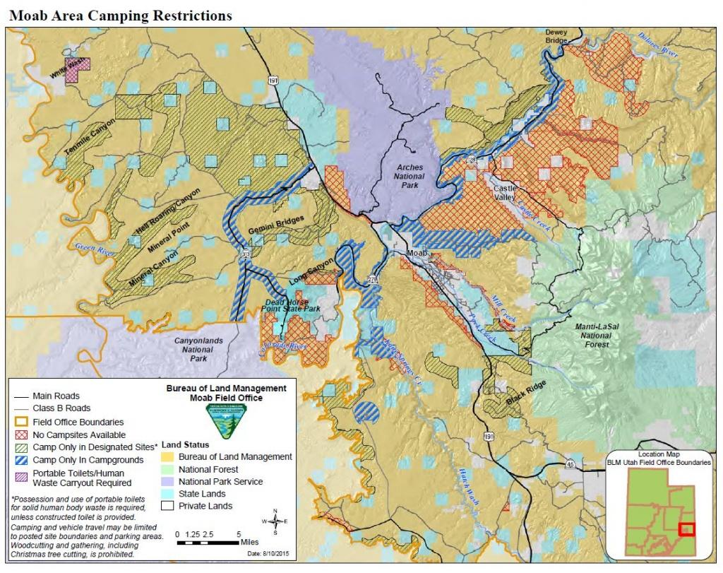Media: Public Room: Utah: Moab Camping Restrictions | Bureau Of Land - Blm Dispersed Camping California Map
