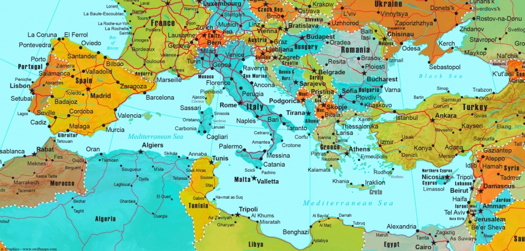 Mediterranean Countries Map - Printable Map Of The Mediterranean Sea Area
