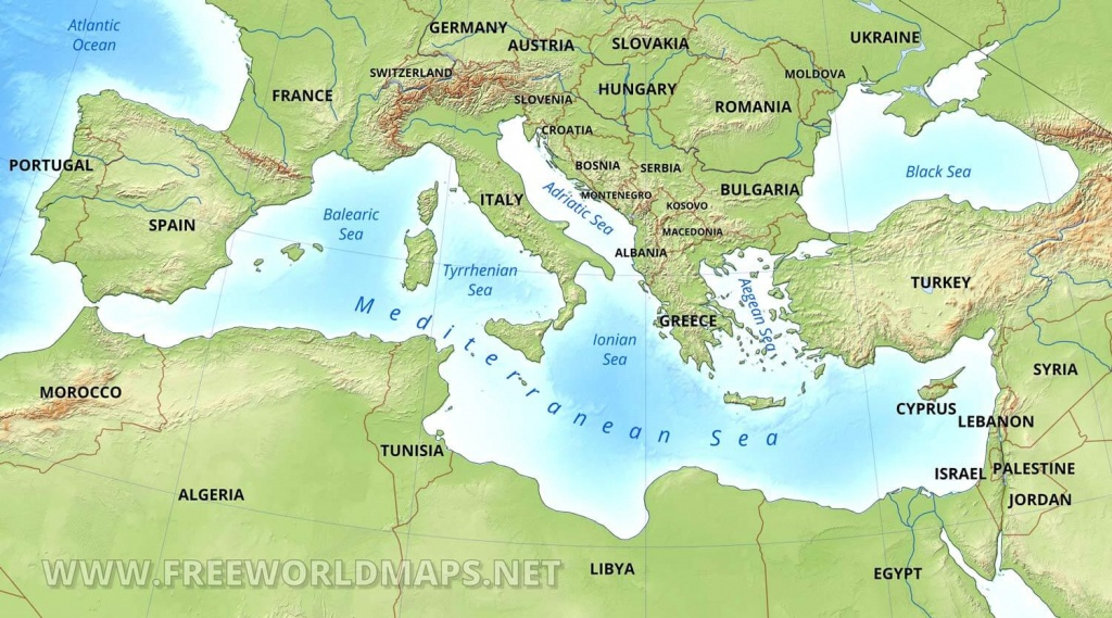 Mediterranean Map - Printable Map Of The Mediterranean Sea Area