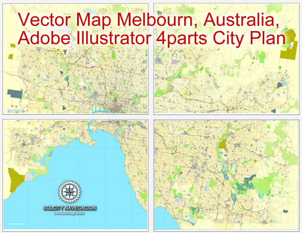 Melbourne, Australia In Adobe Illustrator, Printable Vector Street 4 Parts  City Plan Map, Fully Editable - Melbourne Cbd Map Printable