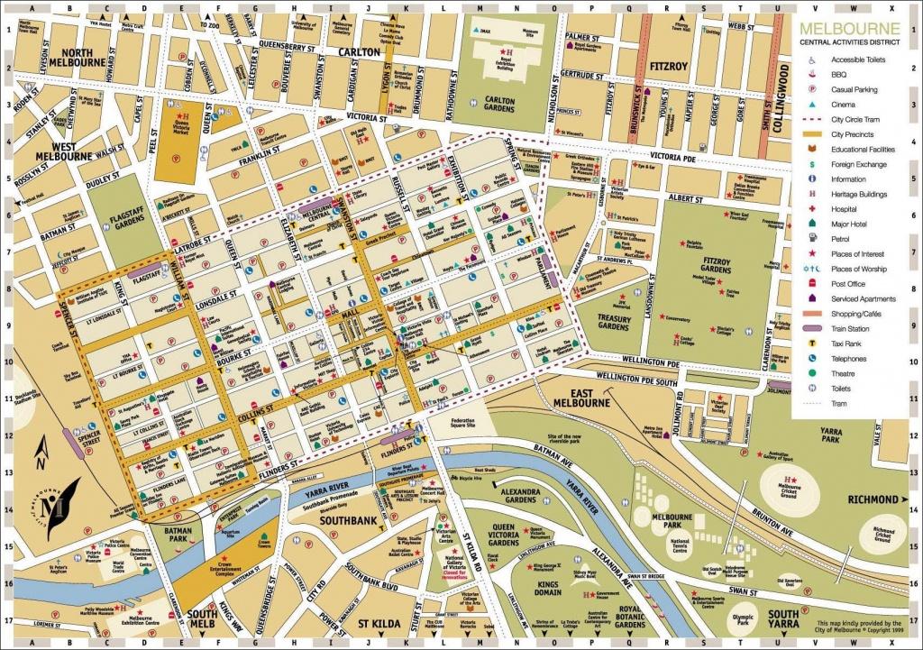 Melbourne Central District Tourist Map Australia City 3 - World Wide - Melbourne Tourist Map Printable