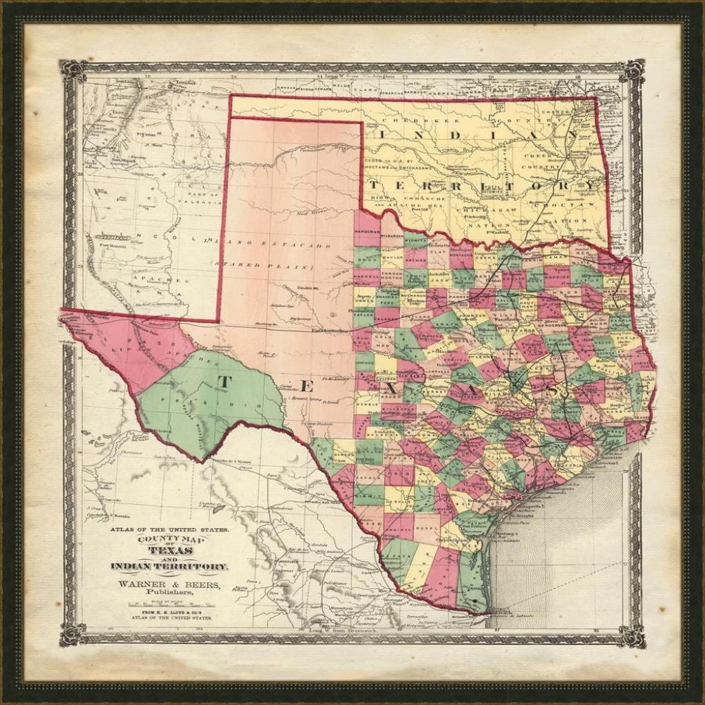"Melissa Van Hise 32 In. X 32 In. ""vintage Map Of Texas"" Framed - Map Of Texas Art"