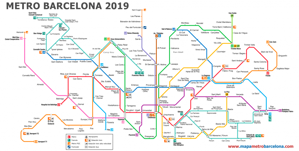 Metro Map Of Barcelona 2019 (The Best) - Metro Map Barcelona Printable