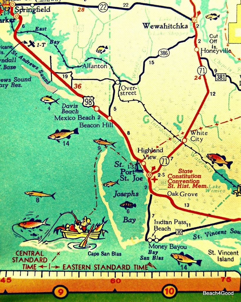 Mexico Beach Map Art Print Florida Map Art Port St Joe Map | Etsy - Mexico Beach Florida Map