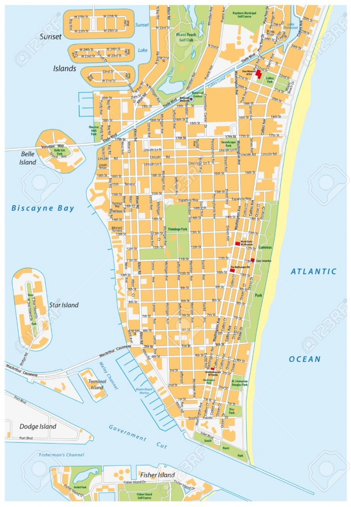 Miami Beach Detailed Vector Street Map With Names, Florida, Royalty - Street Map Of Miami Florida