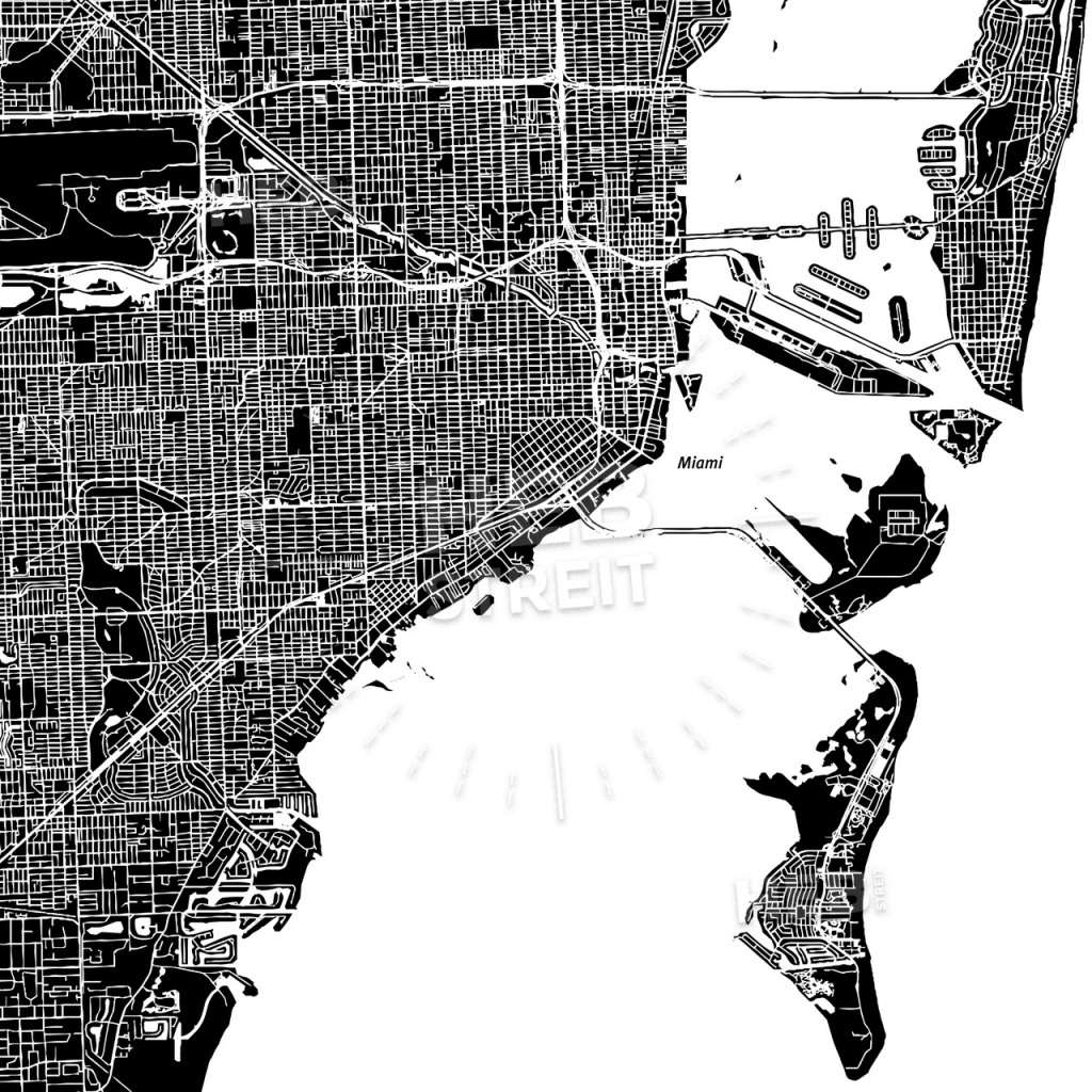 Miami, Florida, Downtown Map, Dark | Hebstreits Sketches - Florida Map Black And White