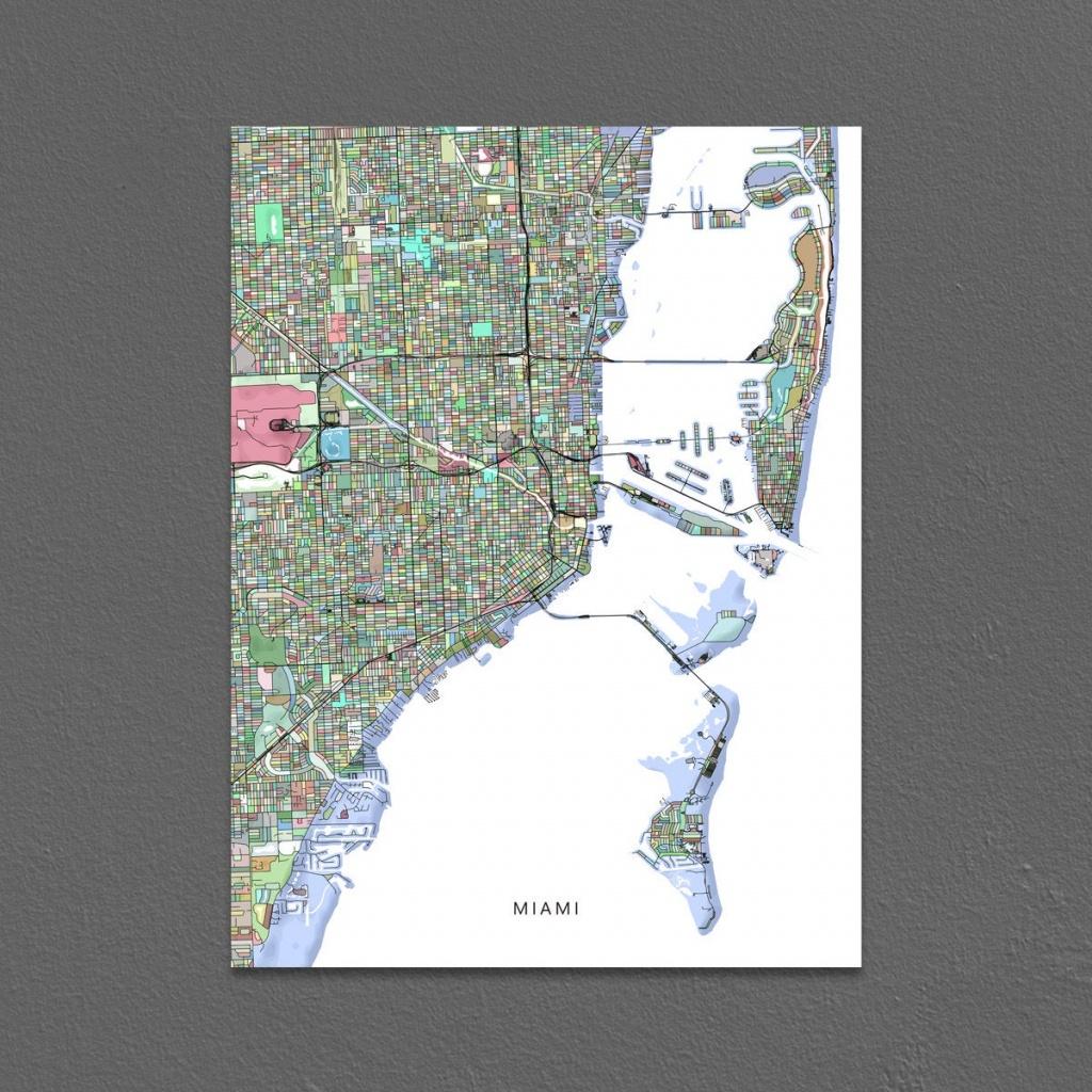 Miami Map Print Miami City Map Art Florida Colorful | Etsy - Miami City Map Printable