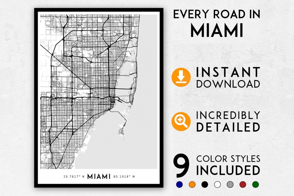 Miami Map Print Miami Print Florida Map Miami City Map | Etsy - Miami City Map Printable