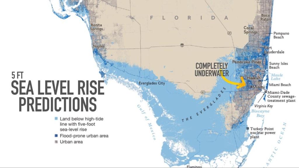 Miami May Be Underwater2100 - Youtube - Florida Underwater Map