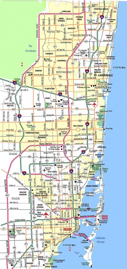 Miami Metropolitan Area Highways - Aaccessmaps - The Map Of Miami Florida