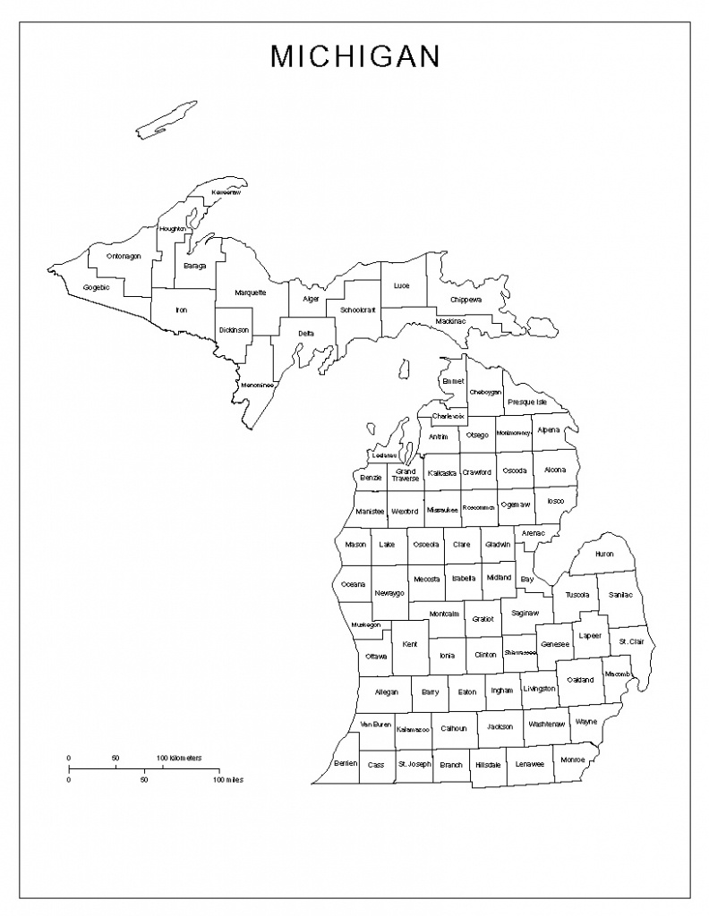 Michigan Labeled Map - Michigan County Maps Printable