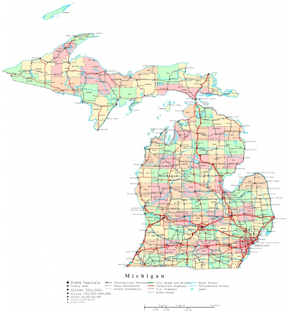 Michigan Printable Map - Printable Map Of Michigan