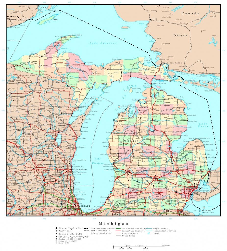 Michigan Printable Map - Printable Map Of Upper Peninsula Michigan