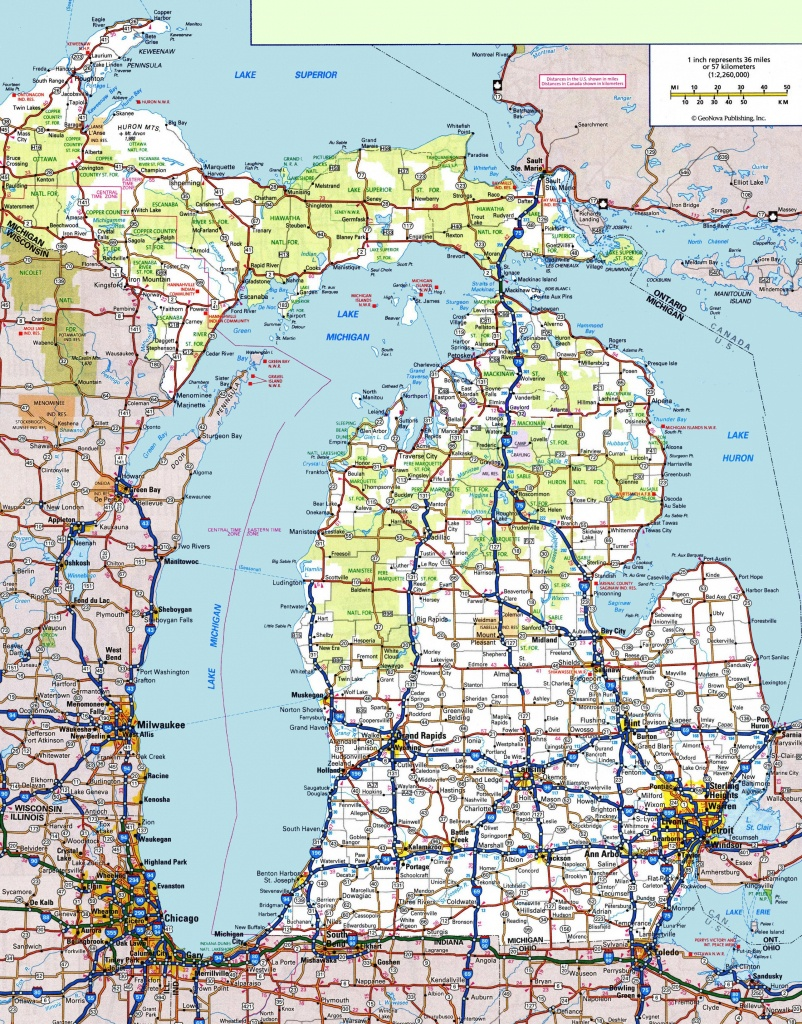 Michigan Road Map - Printable Map Of Michigan