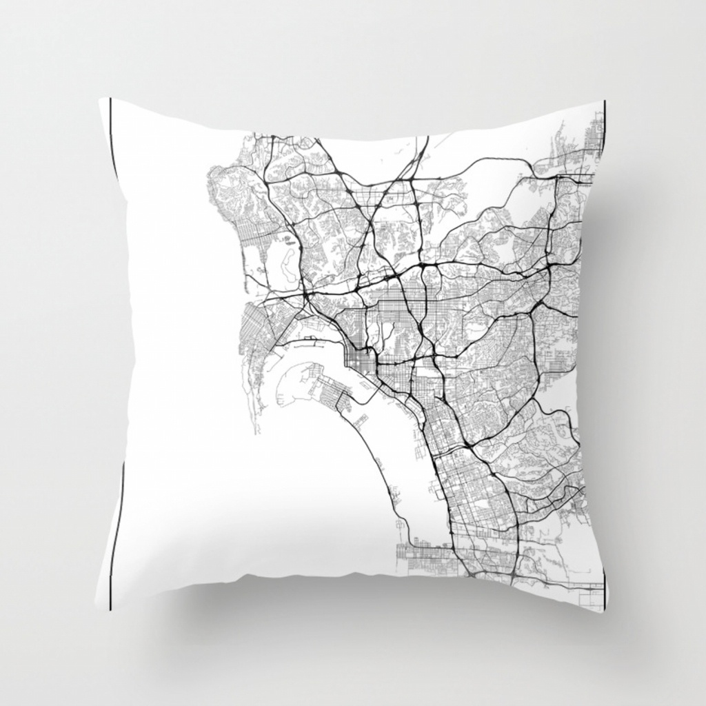 Minimal City Maps - Map Of San Diego, California, United States - California Map Pillow