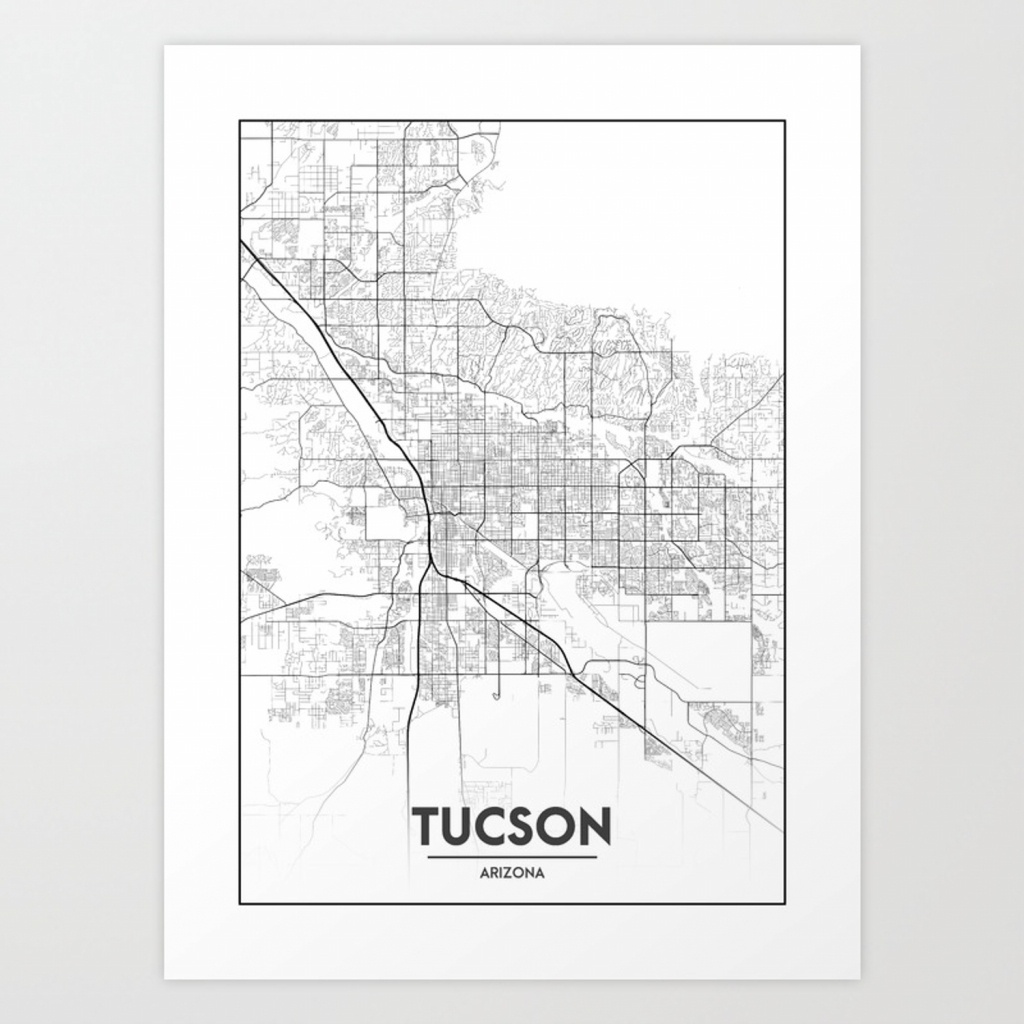 Minimal City Maps - Map Of Tucson, Arizona, United States Art Print - Printable Map Of Tucson Az