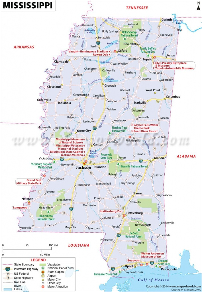 Mississippi Map Showing The Major Travel Attractions Including - Printable Map Of Ms