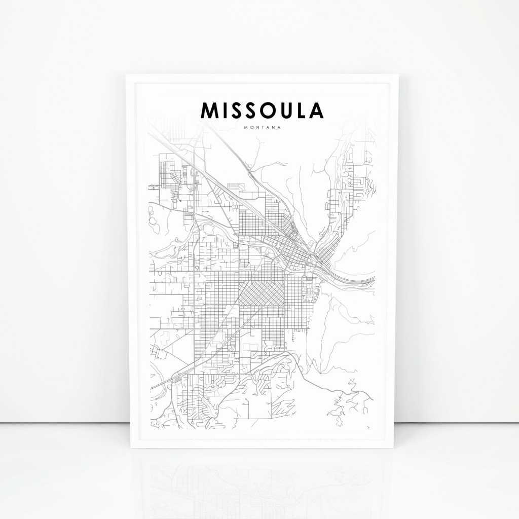 Missoula Map Print Montana Mt Usa Map Art Poster City Street | Etsy - Printable Missoula Map