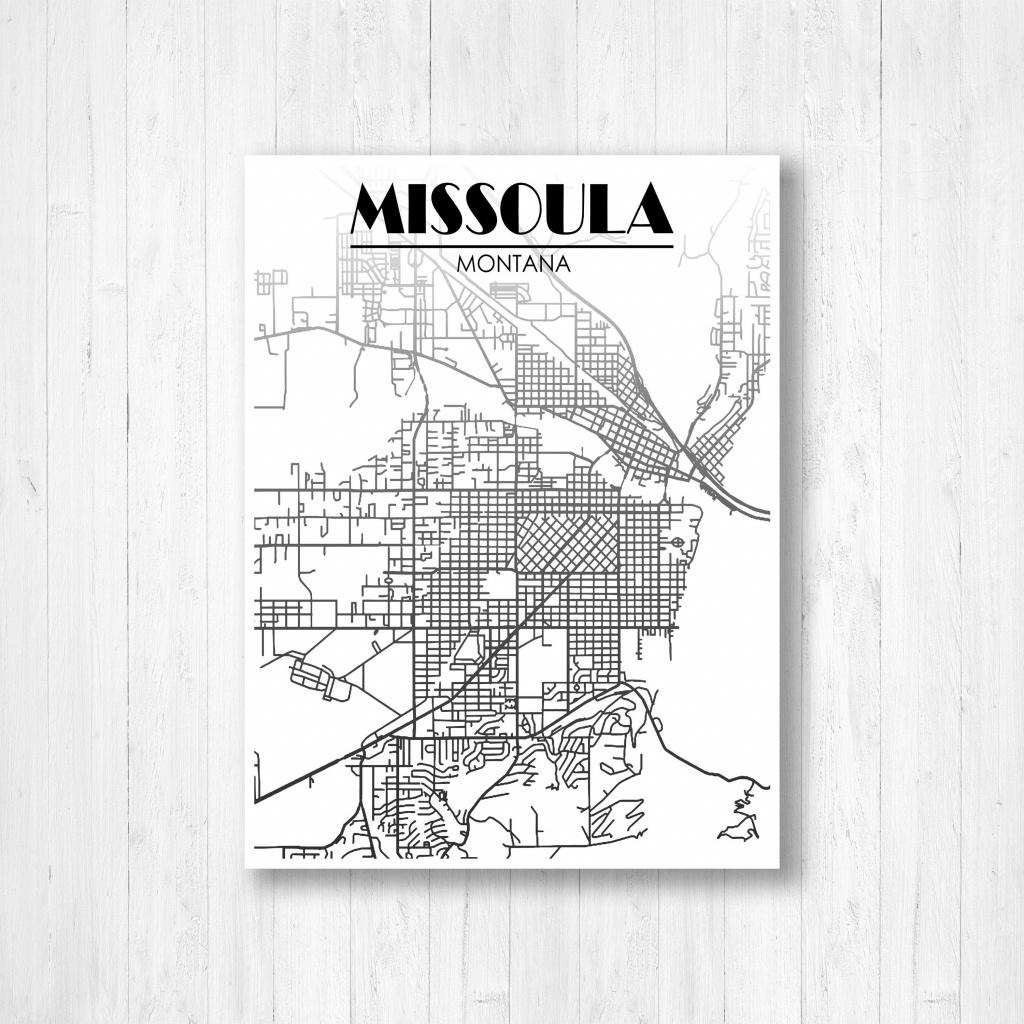 Missoula Montana Street Map Fading Map Missoula Street | Etsy - Printable Missoula Map