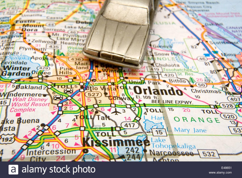 Model Sedan On A Road Map Of Orlando And Kissimmee Fl Stock Photo - Road Map To Orlando Florida