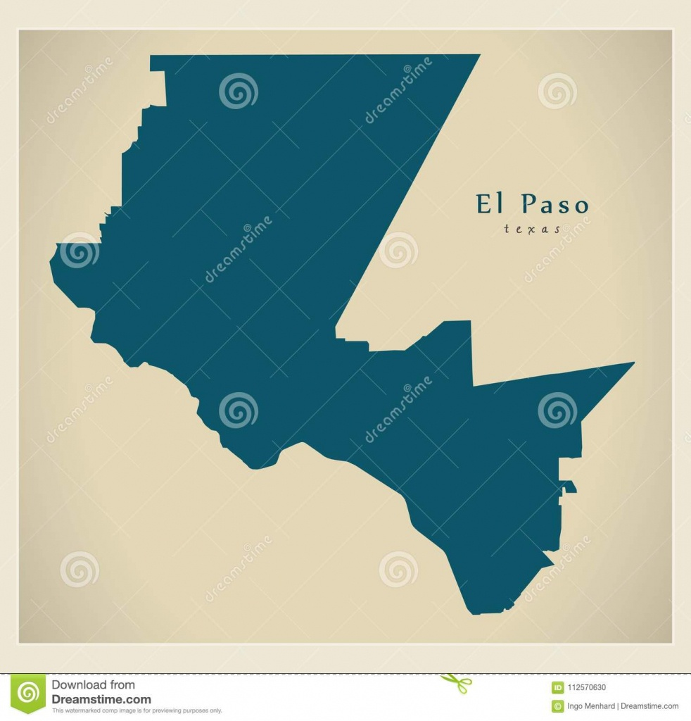Modern Map - El Paso Texas City Of The Usa Stock Vector - Where Is El Paso Texas On The Map